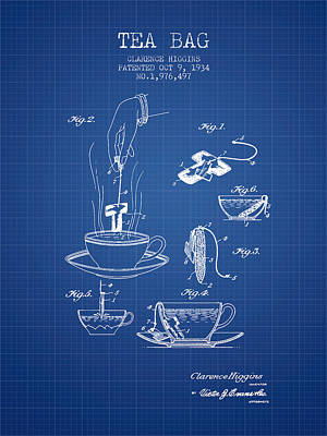 1934 Tea Bag Patent - Blueprint Poster by Aged Pixel