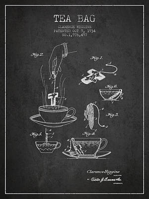 1934 Tea Bag Patent - Charcoal Poster by Aged Pixel