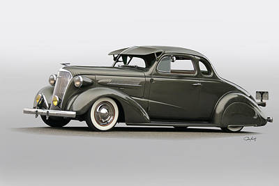 1937 Chevrolet 'low Rider' Kustom Coupe Poster by Dave Koontz
