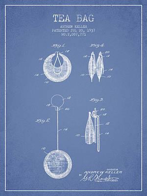 1937 Tea Bag Patent 02 - Light Blue Poster by Aged Pixel