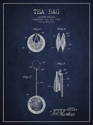 1937 Tea Bag Patent 02 - Navy Blue Poster by Aged Pixel