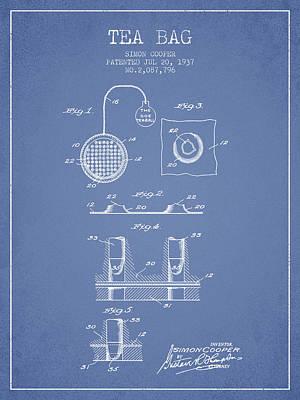 1937 Tea Bag Patent - Light Blue Poster by Aged Pixel