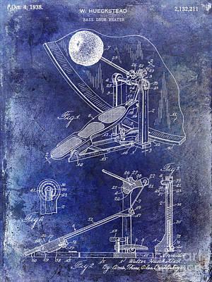 1938 Bass Drum Pedal Patent Blue Poster by Jon Neidert