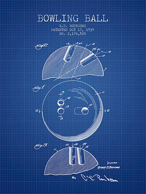 1939 Bowling Ball Patent - Blueprint Poster by Aged Pixel