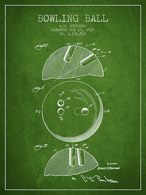 1939 Bowling Ball Patent - Green Poster by Aged Pixel