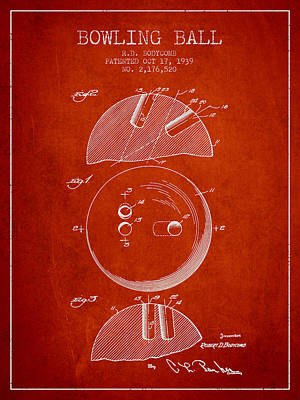 1939 Bowling Ball Patent - Red Poster by Aged Pixel