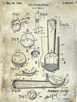1939 Ice Cream Scoop Patent Poster by Jon Neidert