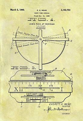 1940 Sundial Patent Poster by Dan Sproul