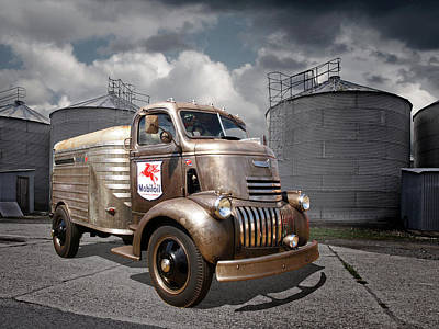 1942 Mobile Oil Rusty Chevy Truck Poster by Gill Billington