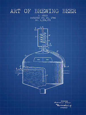 1944 Art Of Brewing Beer Patent - Blueprint Poster by Aged Pixel