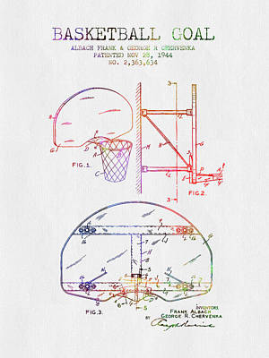 1944 Basketball Goal Patent - Color Poster by Aged Pixel