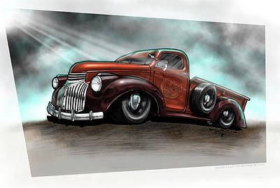 1946 Chevy Pickup Truck Jesus Built My Hot Rod Poster by Dave McEwan