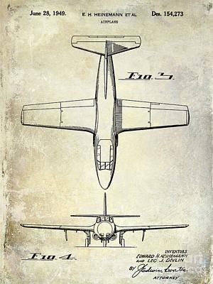 1949 Airplane Patent Drawing Poster by Jon Neidert