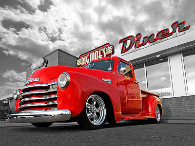 1952 Chevrolet Truck At The Diner Poster by Gill Billington