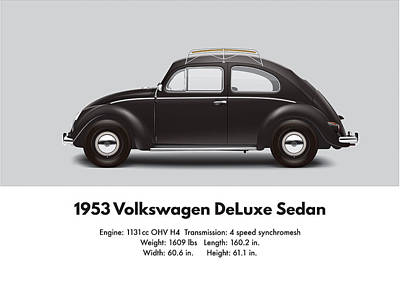 1953 Volkswagen Sedan - Black Poster by Ed Jackson
