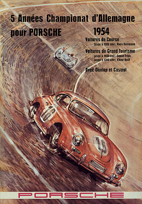 1954 Porsche Championat D'allemagne Poster by Georgia Fowler