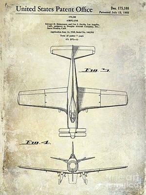 1955  Airplane Patent Drawing 2 Poster by Jon Neidert