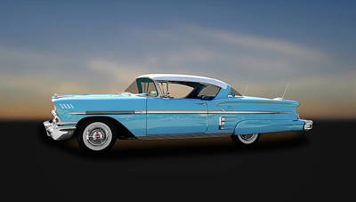 1958 Chevrolet Bel Air Impala Sport Coupe  -  58chbaim645 Poster by Frank J Benz