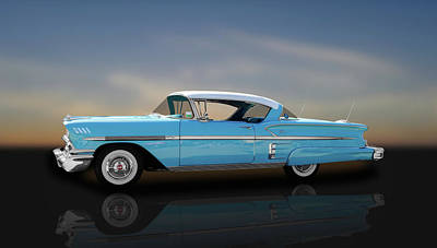 1958 Chevrolet Bel Air Impala Sport Coupe   -  58chimpalaba350 Poster by Frank J Benz