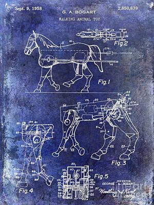 1958 Horse Toy Patent Blue Poster by Jon Neidert