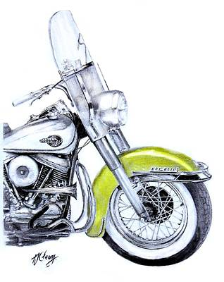 1960 Harley Davidson Flh Duo-glide Motorcycle Poster by Terence John Cleary
