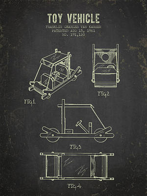 1961 Toy Vehicle Patent - Dark Grunge Poster by Aged Pixel