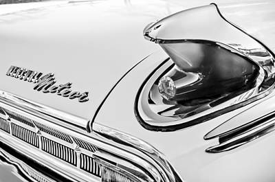 1963 Mercury Meteor Taillight Emblem -0070bw Poster by Jill Reger