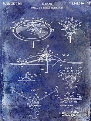 1964 Cymbal Patent Blue Poster by Jon Neidert