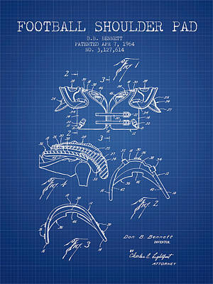 1964 Football Shoulder Pad Patent - Blueprint Poster by Aged Pixel