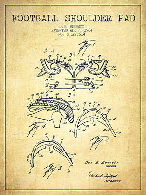1964 Football Shoulder Pad Patent - Vintage Poster by Aged Pixel