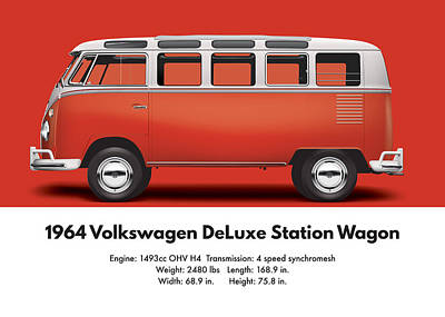 1964 Volkswagen Deluxe Station Wagon - Sealing Wax Red Poster by Ed Jackson