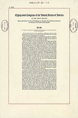 1965 Voting Rights Act. The Full Title Poster by Everett