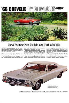 1966 Chevrolet Chevelle Turbo-jet V8's Poster by Digital Repro Depot
