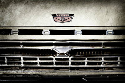 1966 Ford Pickup Truck Grille Emblem -0154ac Poster by Jill Reger