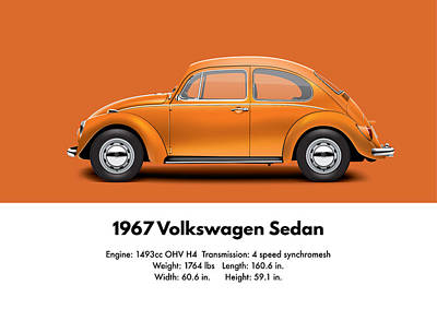 1967 Volkswagen Sedan - Custom Metallic Orange Poster by Ed Jackson