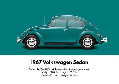 1967 Volkswagen Sedan - Java Green Poster by Ed Jackson