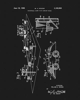 1968 Basketball Court Patent Poster by Dan Sproul