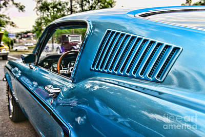 1968 Ford Mustang Fastback In Blue Poster by Paul Ward
