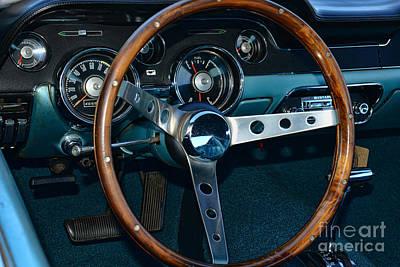 1968 Mustang Fastback Steering Wheel Poster by Paul Ward