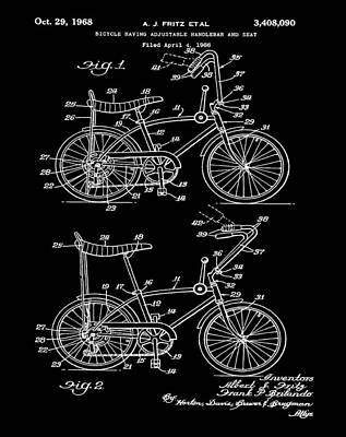 1968 Schwinn Stingray Patent In Black Poster by Bill Cannon