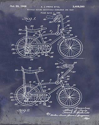 1968 Schwinn Stingray Patent In Blueprint Poster by Bill Cannon