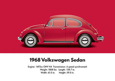 1968 Volkswagen Sedan - Royal Red Poster by Ed Jackson