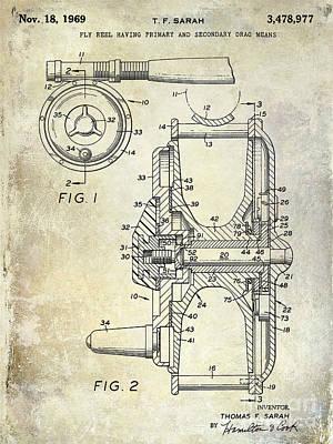1969 Fly Reel Patent Poster by Jon Neidert