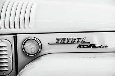 1969 Toyota Fj-40 Land Cruiser Emblem -0441bw Poster by Jill Reger