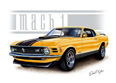 1970 Mustang Mach 1 In Yellow Poster by David Kyte