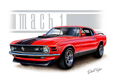 1970 Mustang Mach 1 Red Poster by David Kyte