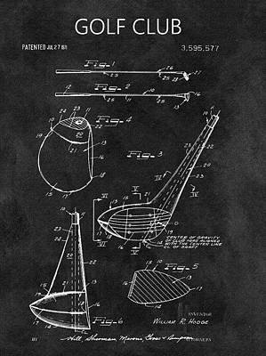 1971 Golf Club Blueprint Illustration Poster by Dan Sproul