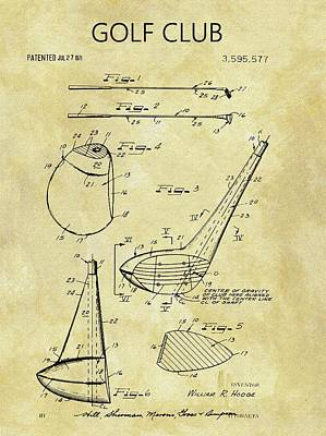 1971 Golf Club Patent Poster by Dan Sproul