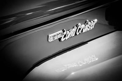 1982 Toyota Fj43 Land Cruiser Emblem -0491bw Poster by Jill Reger