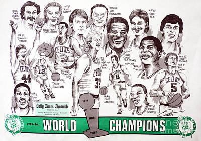 1986 Boston Celtics Championship Newspaper Poster Poster by Dave Olsen